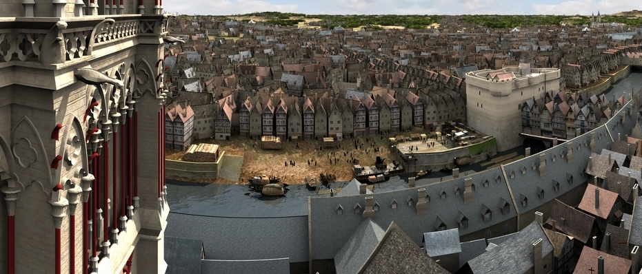 L'ile de la cité vue du balcon de Notre Dame 360°